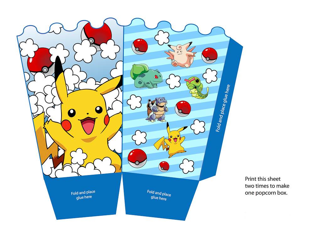 Custom made Pokemon theme popcorn box template design | Singapore children birthday party photography by Truphotos | シンガポール誕生日パーティー・子供フォトグラファー | www.truphotos.com