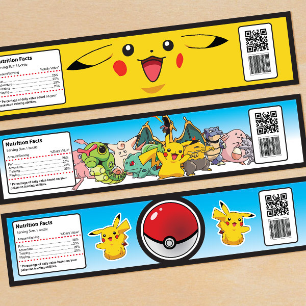Custom made Pokemon theme water bottle label template design | Singapore children birthday party photography by Truphotos | シンガポール誕生日パーティー・子供フォトグラファー | www.truphotos.com