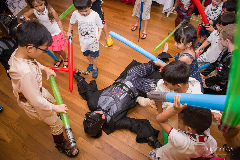 Darth Vader defeated by kids at birthday party of Aaron & Isaac at Tanah Merah Country Club