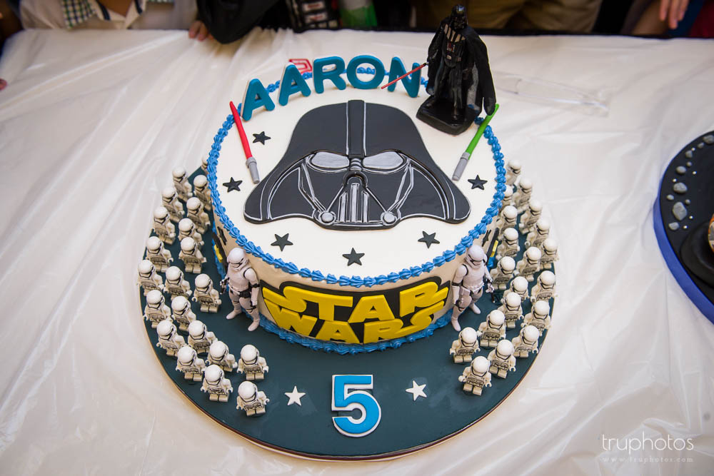 Star Wars Darth Vader Theme birthday party cake with army of storm troopers
