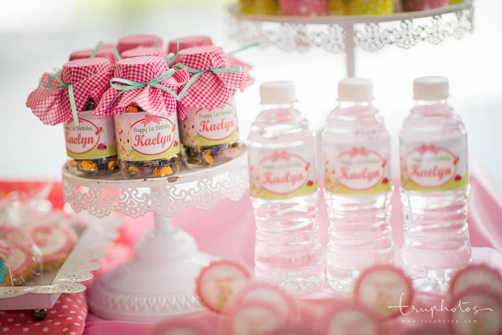 Petite honey pot jars filed with sweets with personalised name labels
