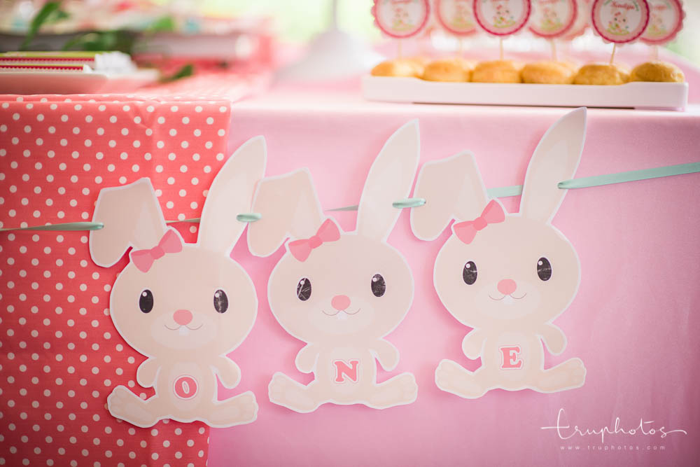 Cute little bunny cut-outs decorating the front of the dessert table